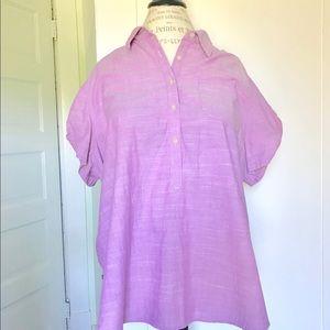 Lavender lilac purple short sleeve collared shirt